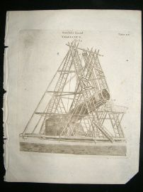 Astronomy Print, 1795: Herschels Grand Telescope, antique engraving